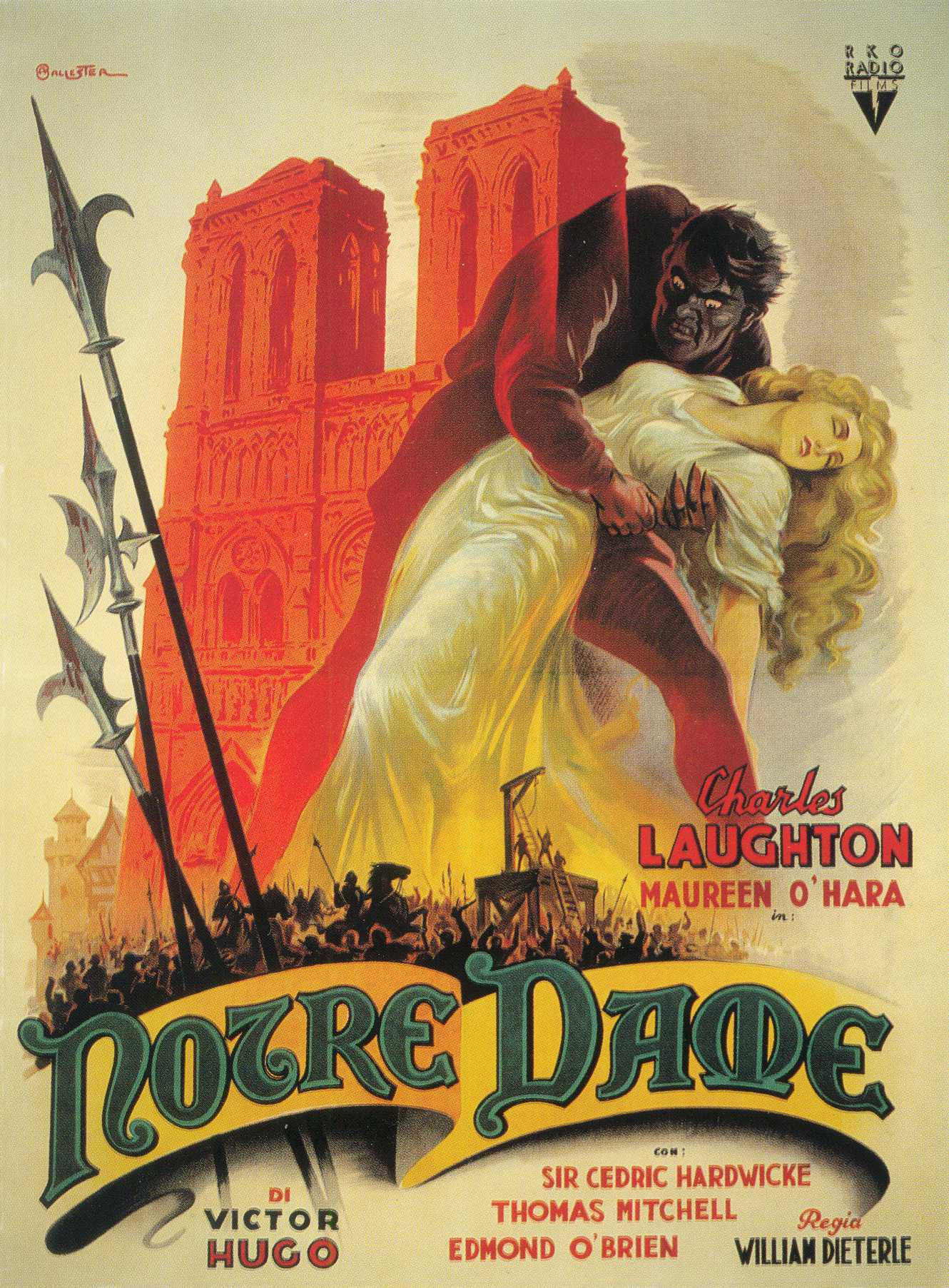 The Hunchback of Notre Dame (1939) Italian poster by Anselmo Ballester